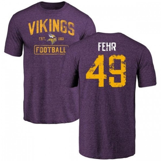 Men's Jordan Fehr Minnesota Vikings Purple Distressed Name & Number Tri-Blend T-Shirt