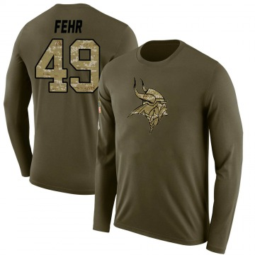 Men's Jordan Fehr Minnesota Vikings Salute to Service Sideline Olive Legend Long Sleeve T-Shirt