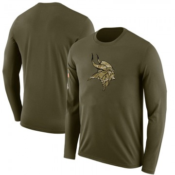 Youth Blank Minnesota Vikings Salute to Service Sideline Olive Legend Long Sleeve T-Shirt