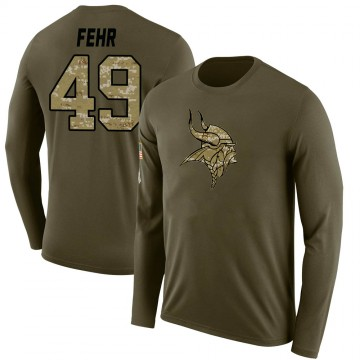 Youth Jordan Fehr Minnesota Vikings Salute to Service Sideline Olive Legend Long Sleeve T-Shirt